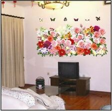 Blooming Red Pink Flower Butterfly Wall Sticker Decal Home Decor Removeable
