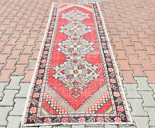 Vintage Turkish Oushak Hand Knotted Runner Rug Muted Red Color Long Hallway Rug