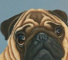 pug painting ready to hang canvas fine art giclee print picture by Lizzie Hall