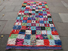Old Hand Made Moroccan Boucherouite Cotton Fabric Colourful Rug 278x140cm