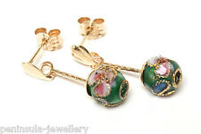 9ct Gold Green Chinese Enamel Ball drop earrings Gift Boxed Made in UK