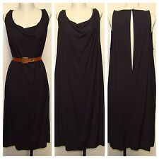 NWT Humanoid RARE Dark Navy Ink Draped Cowl Dress With Long Keyhole Sz L