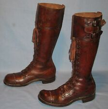 VINTAGE MENS ORIGINAL WWII MILITARY CYCLE BOOTS UNSIZED 30-EYELET WRAP w/BUCKLES