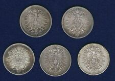 GERMANY EMPIRE  1 MARK SILVER COINS: 1874-G, 1875-C-F-G, & 1878-A, LOT OF (5)