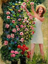 YARY DLUHOS girl picking rose flowers in garden figure Original Oil Painting ---