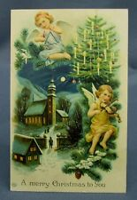 Antique Merry Christmas Postcard Village Church Angels Playing Instruments Tree