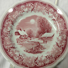 "SPODE ENGLAND WINTER'S EVE RED PINK BREAD & BUTTER PLATE 6 1/4"" WINTER SCENE"