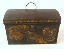 Antique 19C Folk Art Painted  Flowers Tin Toleware Covered  Document Box