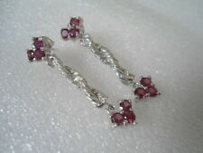 Natural Rhodolite Stone .925 Sterling Silver Dangling Earrings