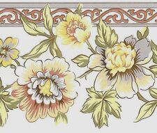 Floral Flower Gardenia Pastel Yellow green Coral Vintage Wallpaper Wall Border