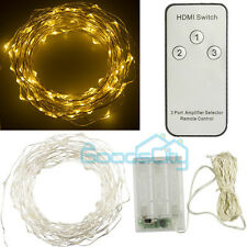 100 LED 10M Copper Wire LED Light Warm White String Fairy Lights Battery Powered