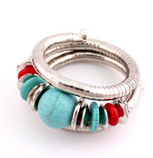 new Charm Bohemia Turquoise Beaded Multilayers Silver Bracelet Bangle #B1078