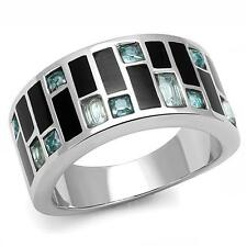 HCJ 10MM WIDE BAND STAINLESS STEEL ART DECO SEA BLUE CZ RING SIZE 7