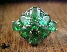 Karis Collection Ring in Platinum Bond Brass Swarovski Crystal Green Fern Size 9