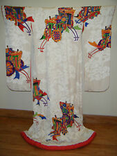 Authentic White Silk Japanese Uchikake Wedding Kimono w/ Gold Couching & Yuzen