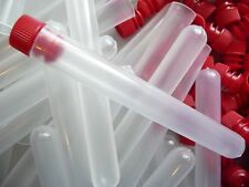 "250 Count 1/2"" x 4"" Plastic Bead Tube Storage Containers With Red Caps, New"