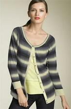 Marc Jacobs Cream Shell Grey Ombre Silk Cashmere Cardigan Sweater Top NWT S