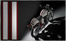 CAFE RACER TRIUMPH DUCATI HONDA WHITE RED PIN FLYSCREEN TANK SEAT STRIPE DECALS