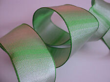 Green Ombre Graduated Check Wired Ribbon, Bows, Valentines Decorative, Crafts