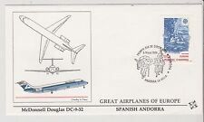 Spainish Andorra  - FDC's - Great Airplanes of Europe - Europa 1988  (G68)