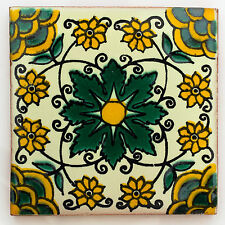 Fairly Traded Handmade Ceramic Mexican Talavera Tile - 'Xavier' (T12860-23)