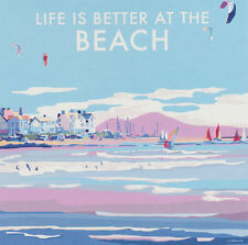 Life Is Better at the Beach Art Deco Railway Poster 1930s style Birthday Card