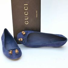 GUCCI New sz 37 - 7 Authentic Designer Bamboo Womens Ballet Flats Shoes Blue