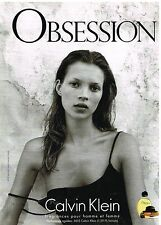 Publicité Advertising 1998 Parfum Obsession par Calvin Klein avec Kate Moss