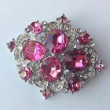 VINTAGE ART DECO PINK AND CLEAR RHINESTONE BROOCH