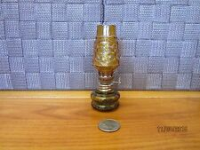 "Miniature glass oil lamp amber decorative raised design top 4.25"" tall"
