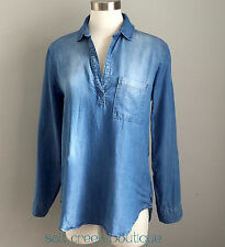 Cloth & Stone Chambray Denim Shirt Size Small Pop Over High-Low Tunic Top