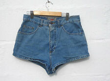 "Vintage 90s High Waisted Blue Stonewash Denim Shorts Jeans Hot Pants 30""W 12"