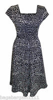 NEW BLACK WHITE POLKA DOT SPOTS SMART FLOATY SUMMER TEA DRESS VINTAGE 1950 STYLE
