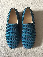 Christian Louboutin mens Roller Boat Slip On Blue With Spikes EU 39.5 UK 5.5
