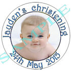 Personalised Christening Baptism Naming Labels stickers Baby Photo Communion