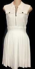 Miu Miu Dress White Pleated Skirt  Sleeveless Size 2 Size 36