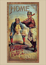 REPRINT PICTURE of old HOME BASE BALL GAME BOX COVER LABEL 5x7