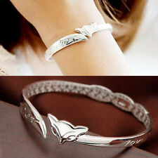 silver forever Love you fox friend Heart Bangle Bracelet cuff women men gift