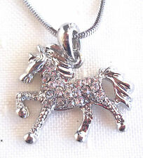 """HORSE PONY PENDANT NECKLACE 15.5"""" CHAIN CLEAR RHINESTONES SILVER TONE METAL GIFT"""