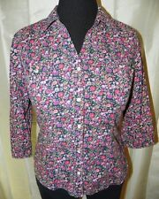 Pink Floral Western Shirt 3/4 Sleeve Pearl Snap Front Large Fun & Flirt