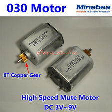 DC 3V~9V 21000RPM Mini Minebea 030 Mute DC Motor with 8T Copper Gear  High Speed