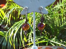 Very Pretty Silvertone, Bronzed Bead & Amber Glass Dangling Clip On Earrings