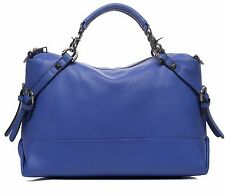 New women Pebbled Italian real Leather Satchel Shoulder Bag Handbag Purse