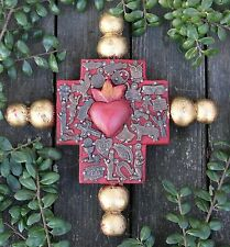 Wood Cross Sacred Heart Gold Balls Gun metal Milagros Mexico Folk Art Michoacán