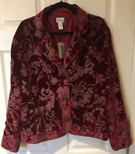 Chico's Red Maroon Burgundy Velvet Burnout Jacket Size: 3 (16) NWT