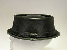Jill Corbett pork pie hat + band green leather  stingy brim S/M/L/XL/XXL  UK