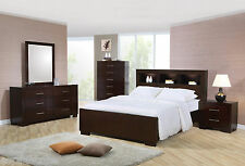 New Queen Size Bed with Storage Headboard & Built in Lighting 4pcs Bedroom Set