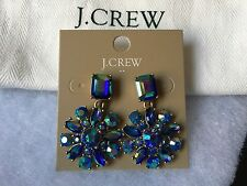 NWT J.CREW Flower Capri Blue Iridescent Crystal CLUSTER DANGLE Earrings
