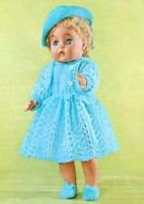 "BABY DOLL CLOTHES 16"" KNITTING PATTERN DRESS HAT CARDIGAN SHOES VEST PANTS"
