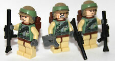 Lego Star Wars ENDOR FORCES custom - 3 REBEL TROOPERS all lego parts backpacks